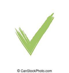 grunge, illustration, marque, vecteur, vert, dessiné, main, chèque