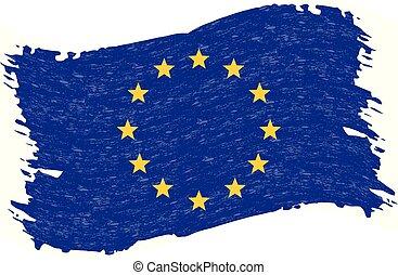 grunge, illustration., résumé, drapeau, isolé, union, arrière-plan., coup, vecteur, brosse, blanc, européen