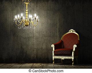 grunge, intérieur, fauteuil, classique, salle