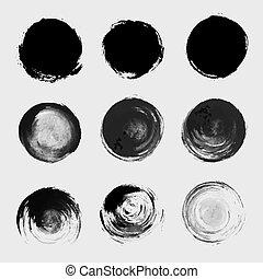 grunge, maculer, set., texture, élément, peinture, vecteur, brosse, cercle, tache