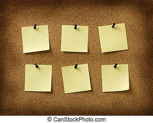 grunge, notes, six, jaune, bouchon, goupillé, fond