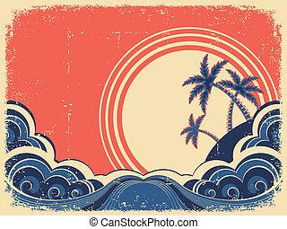 grunge, palms., exotique, papier, vieux, illustration, île, vecteur