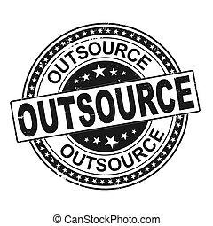 grunge, rond, ruban, retro, timbre, outsource, vendange