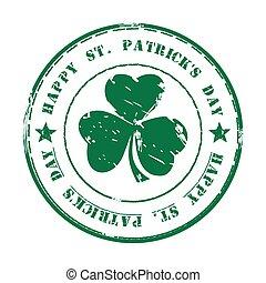 grunge, rue., stamp., caoutchouc, patricks, vert, jour, heureux