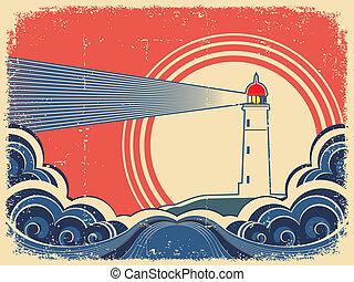grunge, sea., phare, arrière-plan bleu