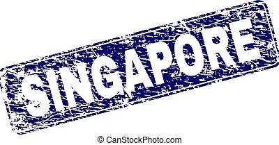 grunge, singapour, timbre, encadré, arrondi, rectangle