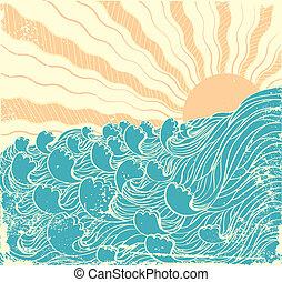 grunge, soleil, illustration, vecteur, waves., mer, landscapewith