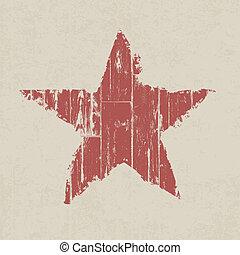 grunge, star., vecteur, eps10., rouges