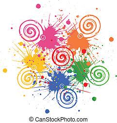 grunge, swirly, taches, vecteur, encre, logo
