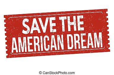 grunge, timbre, caoutchouc, américain, sauver, rêve
