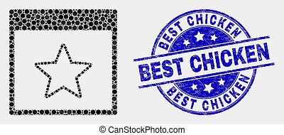 grunge, timbre, pixel, vecteur, calendrier, étoile, poulet, page, mieux, icône