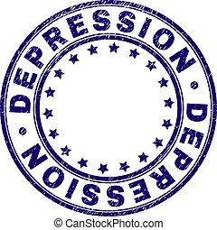 grunge, timbre, textured, cachet, rond, dépression