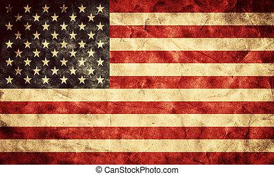 grunge, usa, flag., vendange, article, drapeaux, retro, collection, mon