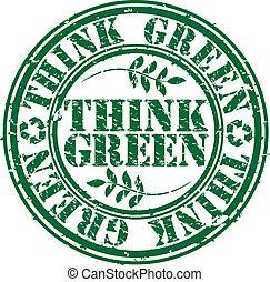 grunge, ve, timbre, caoutchouc, vert, penser