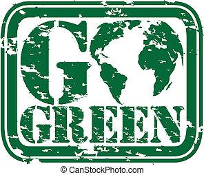 grunge, vecto, timbre, caoutchouc, vert, aller