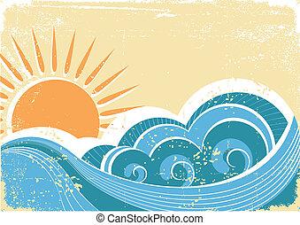 grunge, vendange, illustration, vecteur, waves., mer, paysage