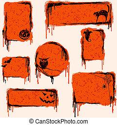 grungy, éléments conception, halloween, collection