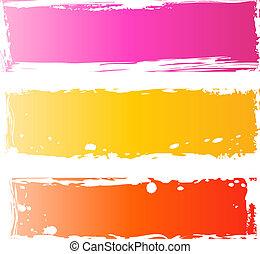 grungy, bannières, joli, multicolore