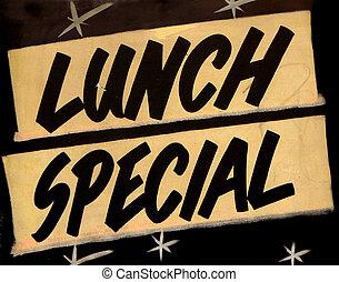 grungy, déjeuner spécial, signe