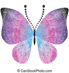 grungy, fantasme, papillon, vendange