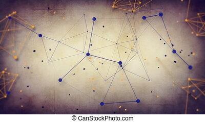 grungy, technologie, réseau, boucle, dos