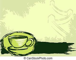 grungy, thé, chinois, fond
