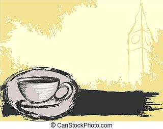 grungy, thé, fond, anglaise