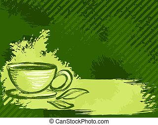 grungy, thé, horizontal, arrière-plan vert