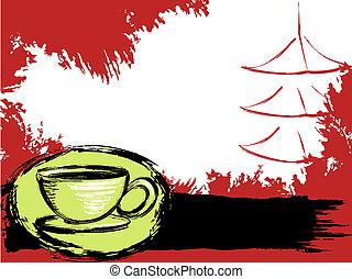 grungy, thé, japonaise, fond