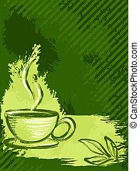grungy, thé, vert, vertical, fond