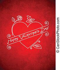 grungy, vendange, jour, carte, valentine