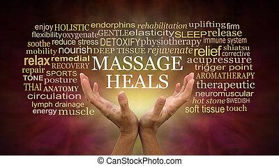 guérison, masage, mots, associé, pouvoirs