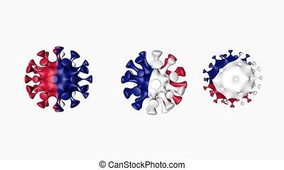 guadeloupe, balle, coronavirus, 2019-ncov, sphères, covid19, drapeau, virus, 3d, blanc, guadeloupe., canal alpha, arrière-plan., animation