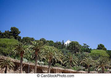 guell, parc, arbres, barcelone, vert, espagne