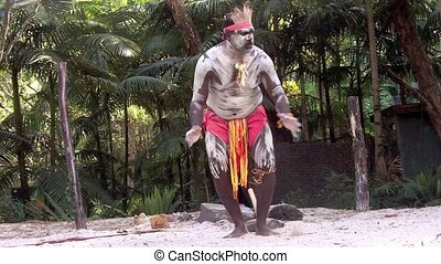 guerrier, aborigène, homme, chanter