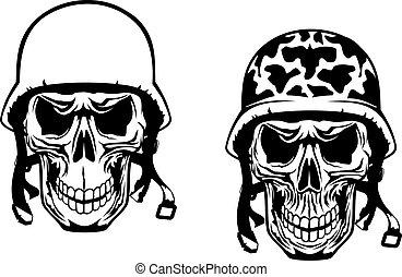 guerrier, crânes, pilote