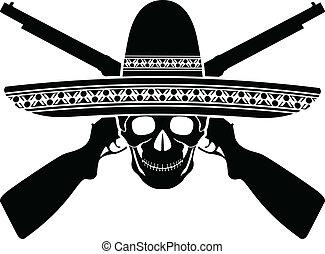 guerrier, mexicain, crâne