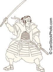 guerrier, position, katana, woodblock, samouraï, baston