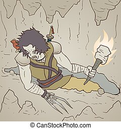 guerrier, torche