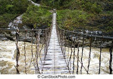 guinée, nouveau, pont corde