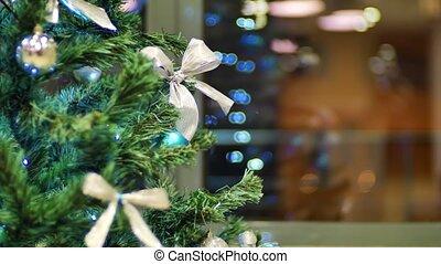guirlande, decoration., arbre, noël allume, clair, statique, fond, année, nouveau, clignotant, noël