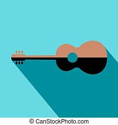 guitar., emblème, bleu, silhouette