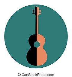 guitar., emblème, silhouette