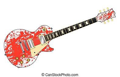 guitare, éclaboussure, encre