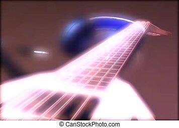 guitare, écouteurs, instruments à cordes, musique