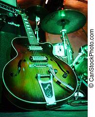 guitare, électrique, étape