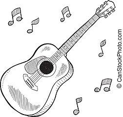 guitare acoustique, croquis