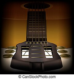 guitare, acoustique, gros plan, 2