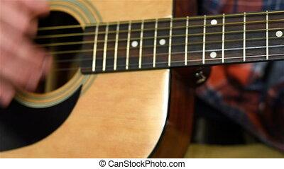 guitare, acoustique, jouer, jaune