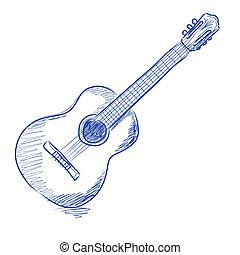guitare, acoustique, sketched